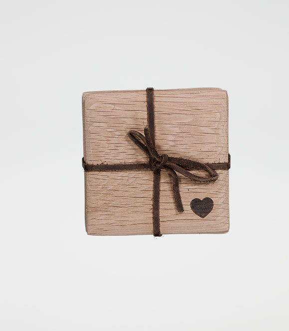 Square Tapered Coaster Set Heart